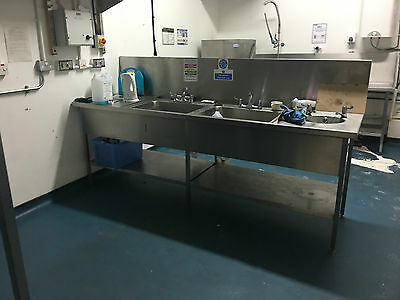Commercial treble 3 bowl stainless sink and taps splash back