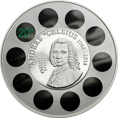 Anders Celsius $5 dollar 1oz Silver Coin with real thermometer Cook Islands 2014