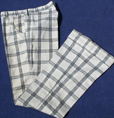 VINTAGE 1970s MENs' 'WIDE 'Bell Bottoms FARAH Trousers Navy white checks, size M