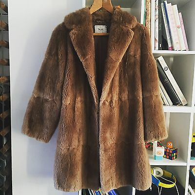 Beautiful Vintage Warm-Brown Real fur Mink 3/4 Coat 10/12