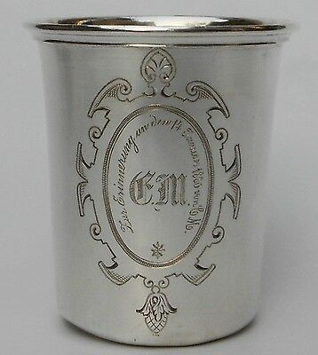 VERY ANTIQUE WILLIAM l EMPEROR PERIOD 1880 GERMAN SILVER ENGRAVED BEAKER/CUP