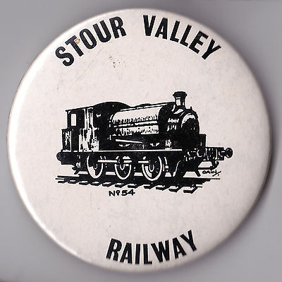 """Stour Valley Railway pin badge depicting """"No. 54"""". c.1980"""