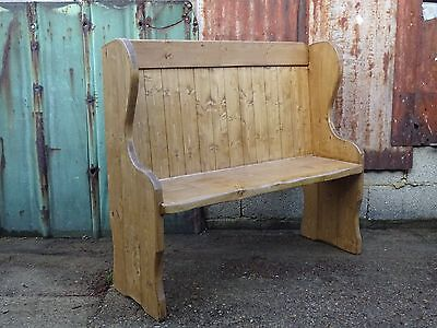 High Back Vintage Style Church Pew Bench Settle Made From Reclaimed Solid Pine