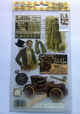 Auction E-Z Rub-On Vintage Style Transfers - MENS COLLAGE - Acid Free