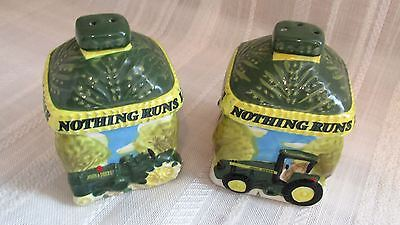 John Deere Salt And Pepper Ceramic Shakers By Gibson - New Condition