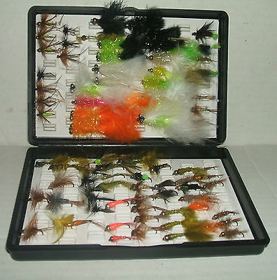 """BLACK PLASTIC """"FOX BOX"""" FLY BOX with 80+ TROUT FLIES/LURES for FLY FISHING"""