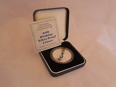 Boxed Royal Mint Silver Proof 1990 Queen Mother 90th Birthday £5 Crown