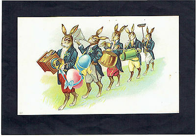 Victorian Easter Greetings Card Anthropomorphic Rabbits Instruments Advertising