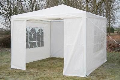 3 x 3m White Waterproof Gazebo With Side Panels Outdoor Garden Party Tent