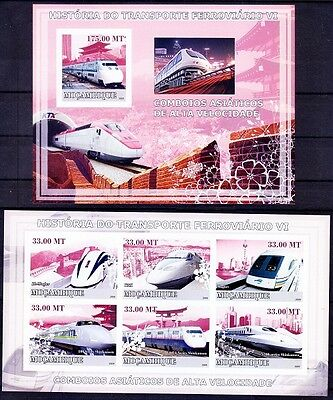 Tunnel, Bridge, History of Train, Railways, Mozambique MNH MS+SS - R34