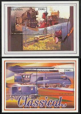 Uganda 1996MNH 2 SS,Clasical Trains of Germany,Japan,Great Britain,USA,Transport