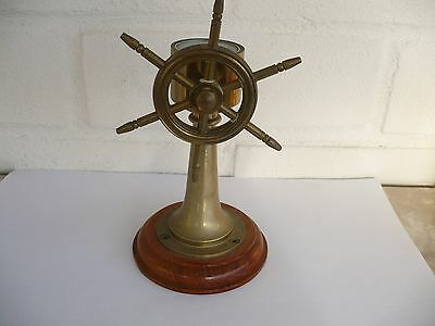 Brass And Wooden Ships Wheel And Compass
