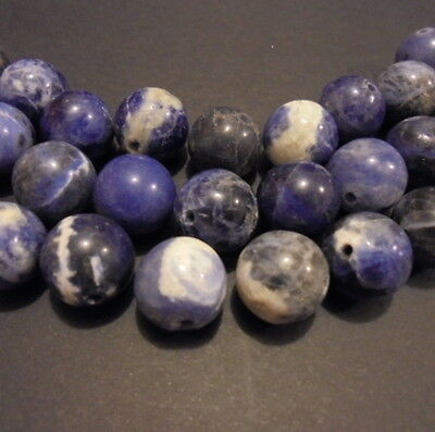 10 PERLES RONDES PIERRE NATURELLE INDE SODALITE 13 mm NATURAL STONE BEADS INDIA