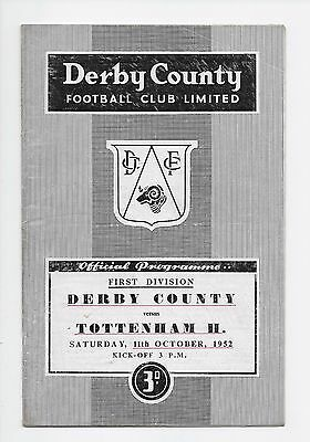 Derby County V Spurs 1952 Football Programme Fa Cup England Wales