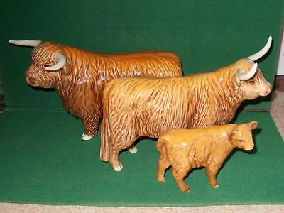 BESWICK HIGHLAND CATTLE FAMILY, BULL,COW, & CALF. No 2008,1740,1827D FARM ANIMAL