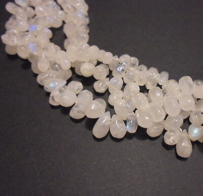 LOT 20 PERLE PIERRE DE LUNE NATURELLE GOUTTE 8 mm NATURAL MOON STONE BEADS INDIA