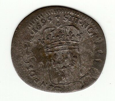 French Colonial, nice 1695 E recoined billon sol with lis c/m