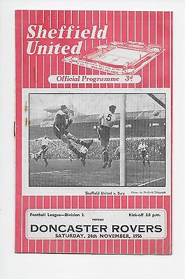 Sheffield United V Doncaster Rovers 1956 Football Programme Fa Cup England