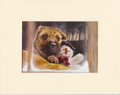 """MOUNTED 8"""" x 10"""" OIL PAINTING PRINT of a BORDER TERRIER DOG"""