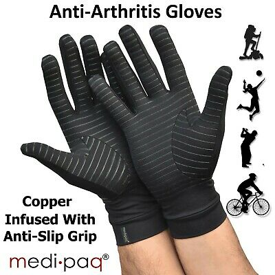 Anti Arthritis Copper Compression Therapy Gloves With Grippers