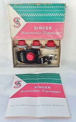 Vintage 1957 Singer Automatic Zigzagger with 4 Zigzag Cams Manual Box