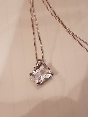 Vintage Solid Sterling Silver Pendant and Chain Large Stone 6.2 Grams