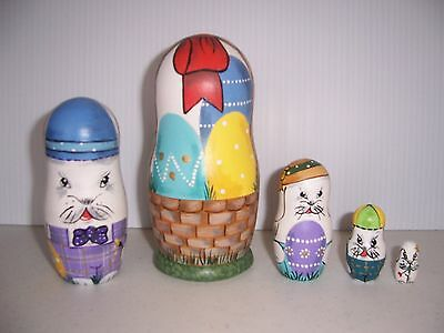 Hand painted Easter Bunnies collection stacking nesting doll set