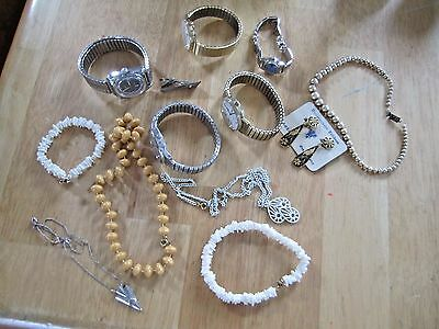 Mixed Lot of Costume Jewelry Earrings/ Necklaces/ & Watches (for parts) Timex