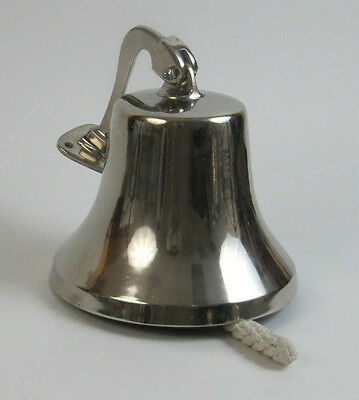 "Chrome Ship's Bell 8.5"" Solid Aluminum Nautical Hanging Wall Home Decor"