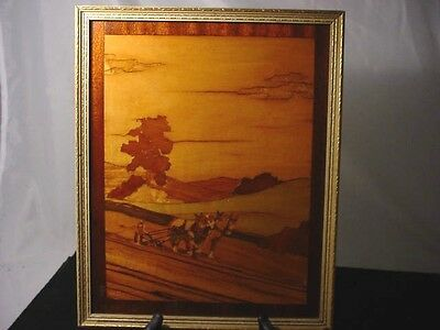 Vintage Marquetry Wood Inlay Picture Farm Scene Exotic Wood Excellent