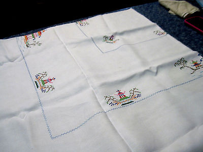 """Vintage Oriental Inspired Xstitch Tablecloth 49"""" X 50 1/2"""""""