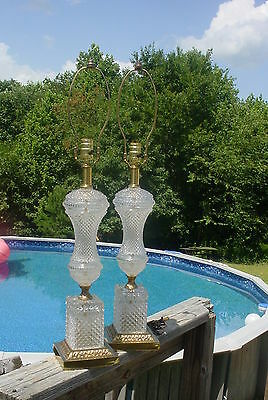 Pr Vintage Glass & Ornate brass Table Lamps