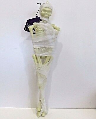 Scarey Halloween Decor, Hanging Skeleton Mummy (In Gauze) 15.5 Inches Tall, New