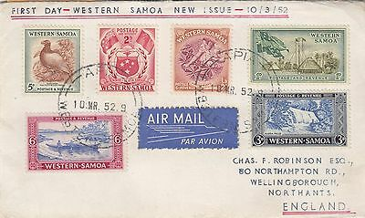 Western Samoa. 1952 1St Day Cover With 6 -- Stamps Sent To England.