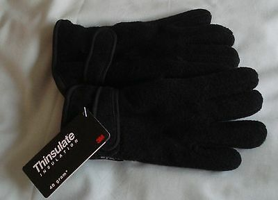 Kids new black Thinsulate gloves - age 8/9