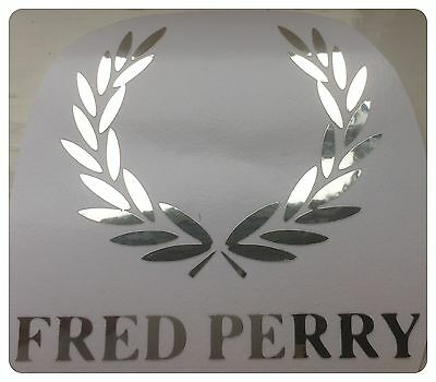 Fred Perry Logo  DECAL/STICKER   CHROME add to scooter car motorbike  8cm/ 80mm