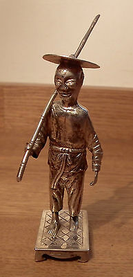 Fine 19Th Century Chinese Export Silver Model Of A Fisherman With Bamboo Rod