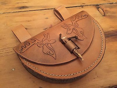 Viking / Saxon Leather Belt Pouch. STAG Design Veg Tan Hand Tooled And Stitched