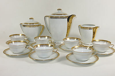 Service A The Cafe Porcelaine De Limoges Blanc Or Ls Coffee Set Porcelain Gold
