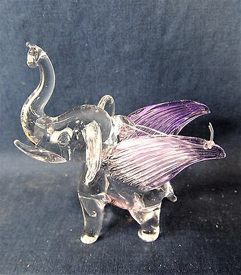 Elephant w/ Lavender wings Hand Made Glass Ornament Figurine (B)