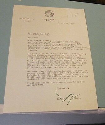 1965 Florida Governor and Congressman Millard Caldwell Signed Autograph Letter