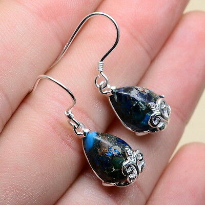 """1 1/8"""" Blue Copper Turquoise Gemstone 100% Solid 925 Sterling Silver Earrings"""