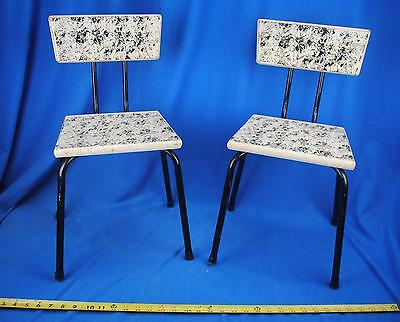 2 Vintage 1950s Mid Century Childs Kids Chairs Seats White & Black