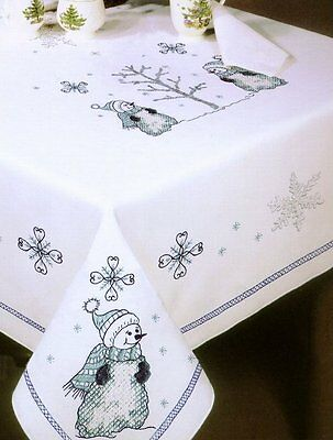 """Tobin Stamped Cross Stitch Embroidery Tablecloth BLUE SNOWMAN 58"""" x 90"""""""