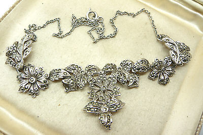 Vintage Jewellery 50's Silver Tone Marcasite Necklace