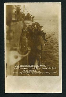 1918-19 Rppc - German Fleet At Scapa Folow - Sailors Fishing  Over The Side 11