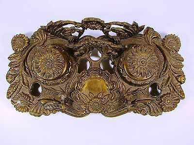 Large Antique Double Ink Stand With Writing Holders, Ornate Brass, From Portugal
