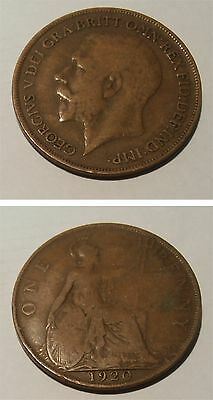1920 British penny coin - George V