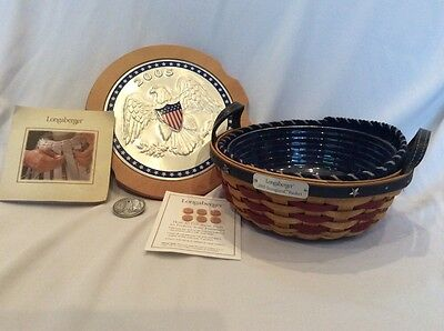 LONGABERGER Basket 2005 INAUGURAL Combo w Lid Blue Liner Protector Fifth
