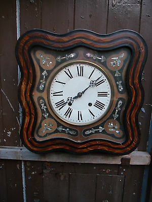 ANTIQUE FRENCH 'Oeil de Beouf' 8 DAY STRIKING WALL CLOCK MOTHER of PEARL INLAY